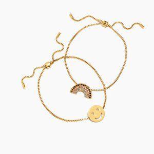 Madewell Chain Friendship Bracelets Rainbow Face